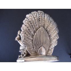 Statue du dieu Ganesh avec paon et souris, en bronze patiné argent