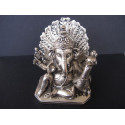 Statue du dieu Ganesh avec paon et souris, en bronze patiné argent, 620g