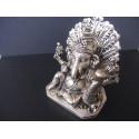 Statue du dieu Ganesh avec paon et souris, en bronze patiné argent hauteur 11,5 cm