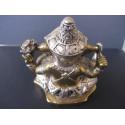 Statue dieu Ganesh avec lotus et trident en bronze, patiné or et argent