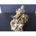Statue dieu Ganesh avec lotus et trident en bronze, patiné or et argent, 420 g