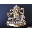 Statue dieu Ganesh avec lotus et trident, 12 x 8.5 x 6.5 cm