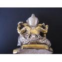 Statue dieu Ganesh avec lotus et trident, hauteur 12 cm