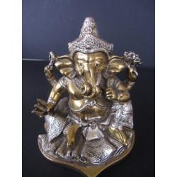 Statue dieu Ganesh avec lotus et trident patiné or et argent, 12 cm