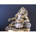 Statue du dieu Ganesh avec cobra et poignard en bronze patiné or et argent, fait main