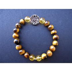 Bracelet arbre de vie en oeil de tigre et citrine