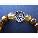 Bracelet arbre de vie en oeil de tigre et citrine et argent