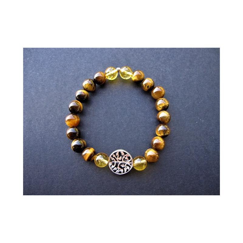 Bracelet arbre de vie en oeil de tigre et citrine, 4 pierres citrines