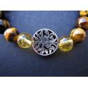 Bracelet arbre de vie en oeil de tigre et citrine monté sur élastique