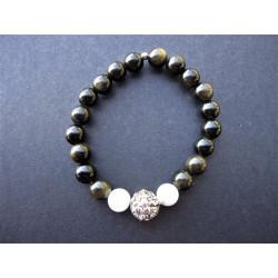 Bracelet Ganesh en obsidienne et pierre de lune