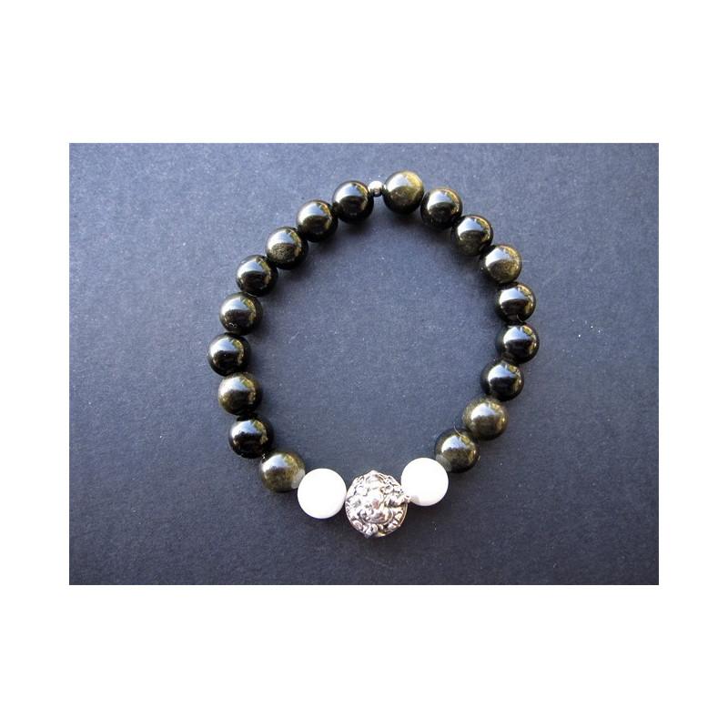 Bracelet Ganesh en obsidienne et pierre de lune et argent