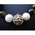 Bracelet Ganesh en obsidienne et pierre de lune monté sur élastique