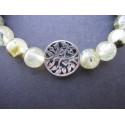 Bracelet arbre de vie en prehnite et argent monté sur élastique
