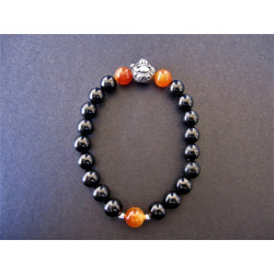 Bracelet bouddha en tourmaline noire et agate