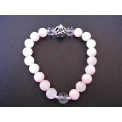 Bracelet bouddha en quartz rose et cristal de roche