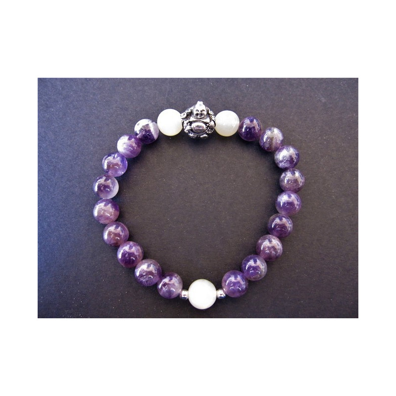 Bracelet bouddha en améthyste et pierre de lune