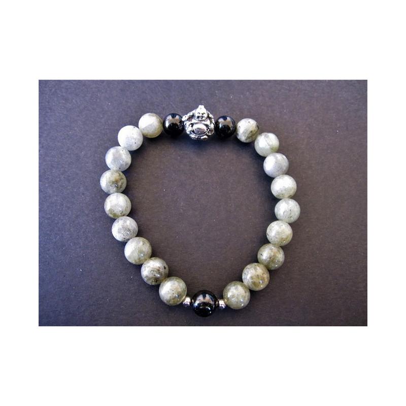 Bracelet bouddha en labradorite et tourmaline noire