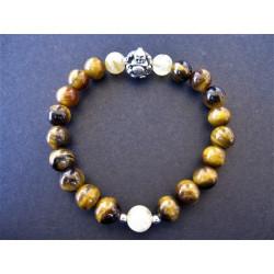 Bracelet bouddha en oeil de tigre et quartz rutilé