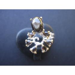 Bague en obsidienne et quartz fumé