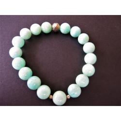 Bracelet en amazonite et lotus en argent