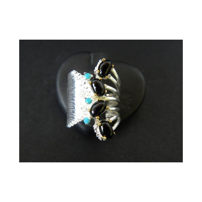Bague de créateur en spinelle noire, argent, doré or blanc, taille 54