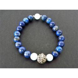 Bracelet Ganesh en lapis lazuli et aigue marine