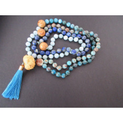 Collier Mala en apatite, lapis lazuli