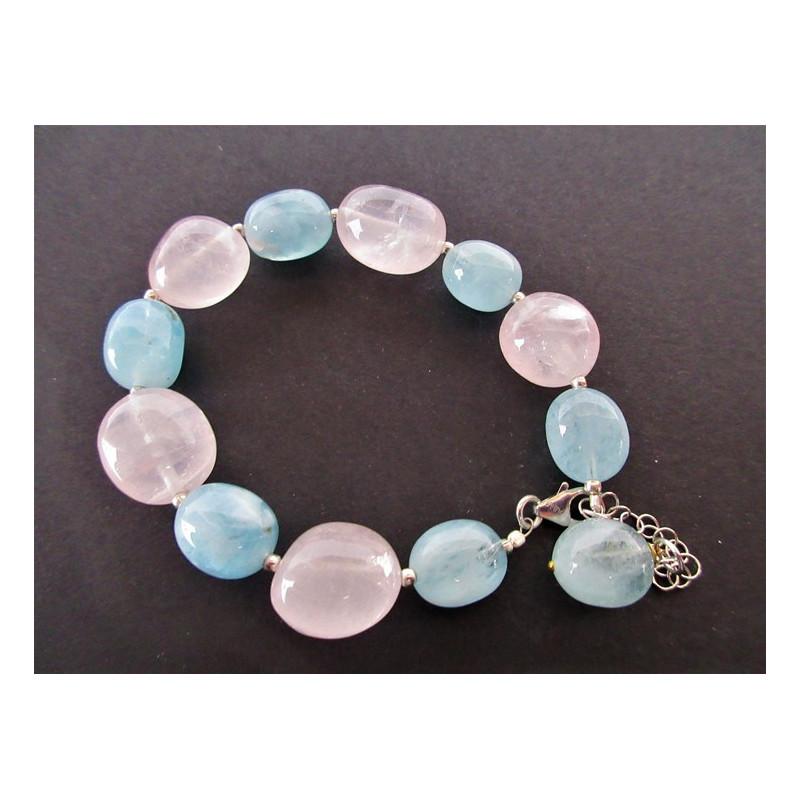 Bracelet en quartz rose et aigue marine