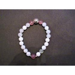 Bracelet Yin Yang en pierre de lune et quartz fraise