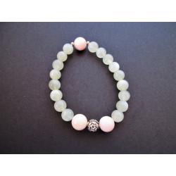 Bracelet en pierre de lune et opale rose