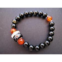 Bracelet Maneki Neko en obsidienne