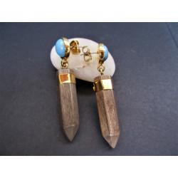boucles d'oreilles en bois d'ébène gris et howlite