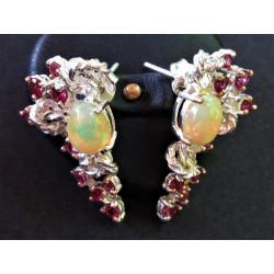 Boucles d'oreilles en opale et grenat