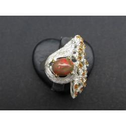 Bague de créateur en opale et citrine