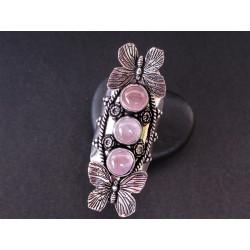 Grande bague papillon en quartz rose