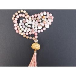 Collier mala en quartz rose et pierre de lune