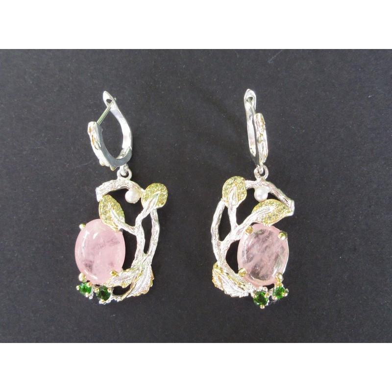 Boucles d'oreilles de créateur en quartz rose