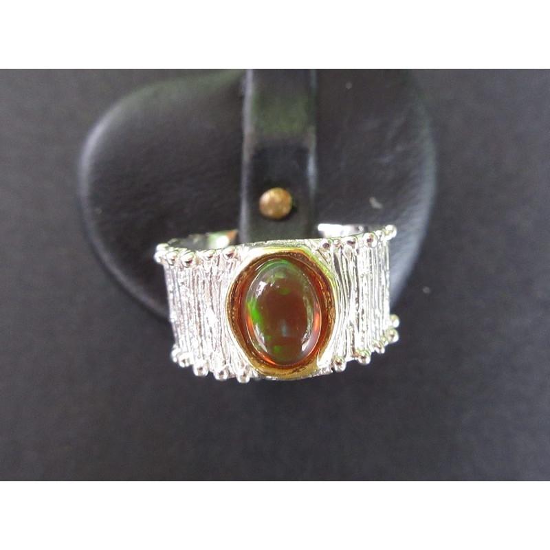 Bague de créateur en opale noire