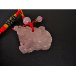 pi xiu porte bonheur en quartz rose