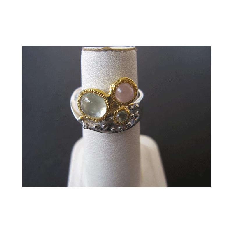 Bague de créateur en prehnite et quartz rose