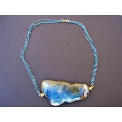 Pendentif en plaque d'agate bleue
