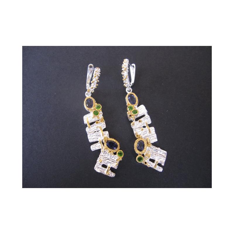 Boucles d'oreilles de créateur en iolite