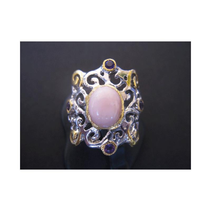 Bague de créateur moderne en opale rose