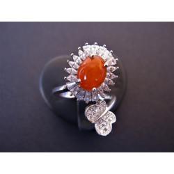 Bague en opale de feu et zircons