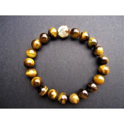 Bracelet homme graine de bodhi et oeil de tigre