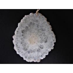 Pendentif tranche d'agate blanche